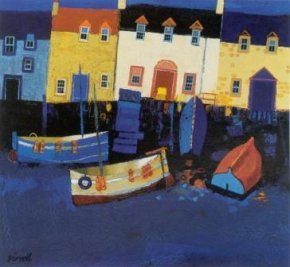 Boats and Tarry Wall a limited edition print by George Birrell