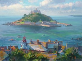 Rooftops Marazion a limited edition print by Mark Preston