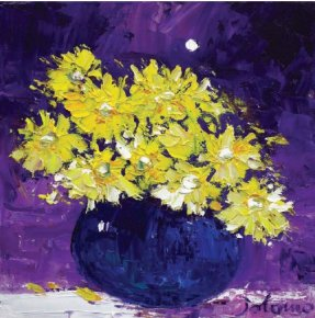 Yellow Daisies Under the Moon a limited edition print by John Lowrie Morrison